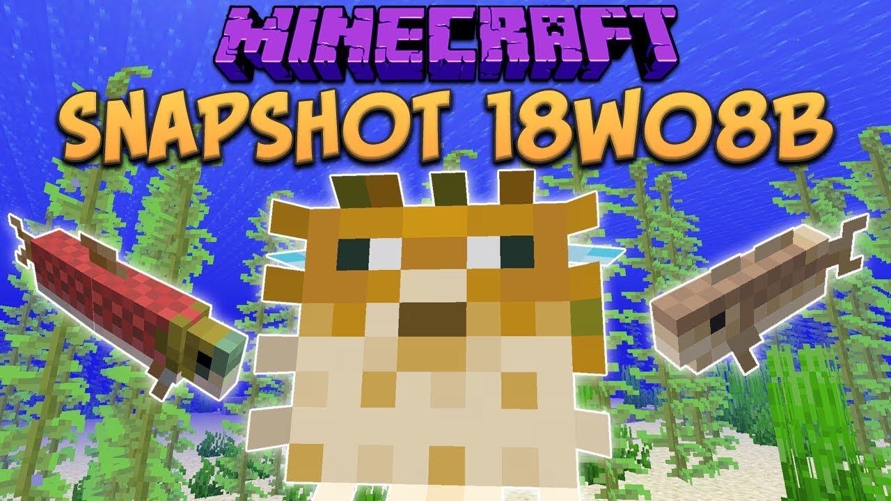 Minecraft 1.13 Snapshot 18w08b Fish Mobs! Cod, Salmon ...