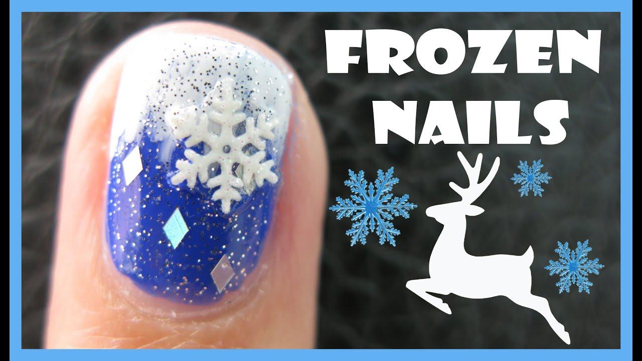 Frozen Winter Nail Art Snowflake Reindeer Design Tutorial For Short
