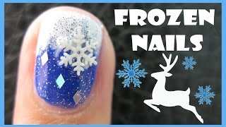 FROZEN WINTER NAIL ART SNOWFLAKE REINDEER DESIGN TUTORIAL FOR SHORT NAILS CHRISTMAS XMAS HOLIDAY