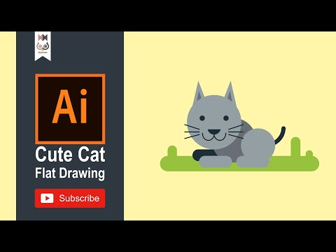 How To Draw a Cat | Animal Flat Drawing E04 | Adobe Illustrator Tutorial thumbnail