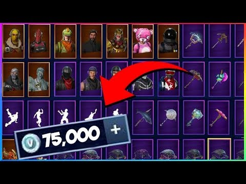 all my fortnite skins emotes and harvesting tools 75 000 v bucks fortnite battle royale outfits - every fortnite emote