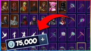 All My Fortnite Skins, Emotes And Harvesting Tools! (75,000 V-Bucks) Fortnite battle Royale Outfits