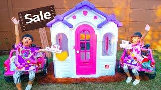 หนูยิ้มหนูแย้ม   ขายเสื้อมือสองเก็บเงินซื้อบ้านใหม่ YimYam Pretend Play with new Toy House