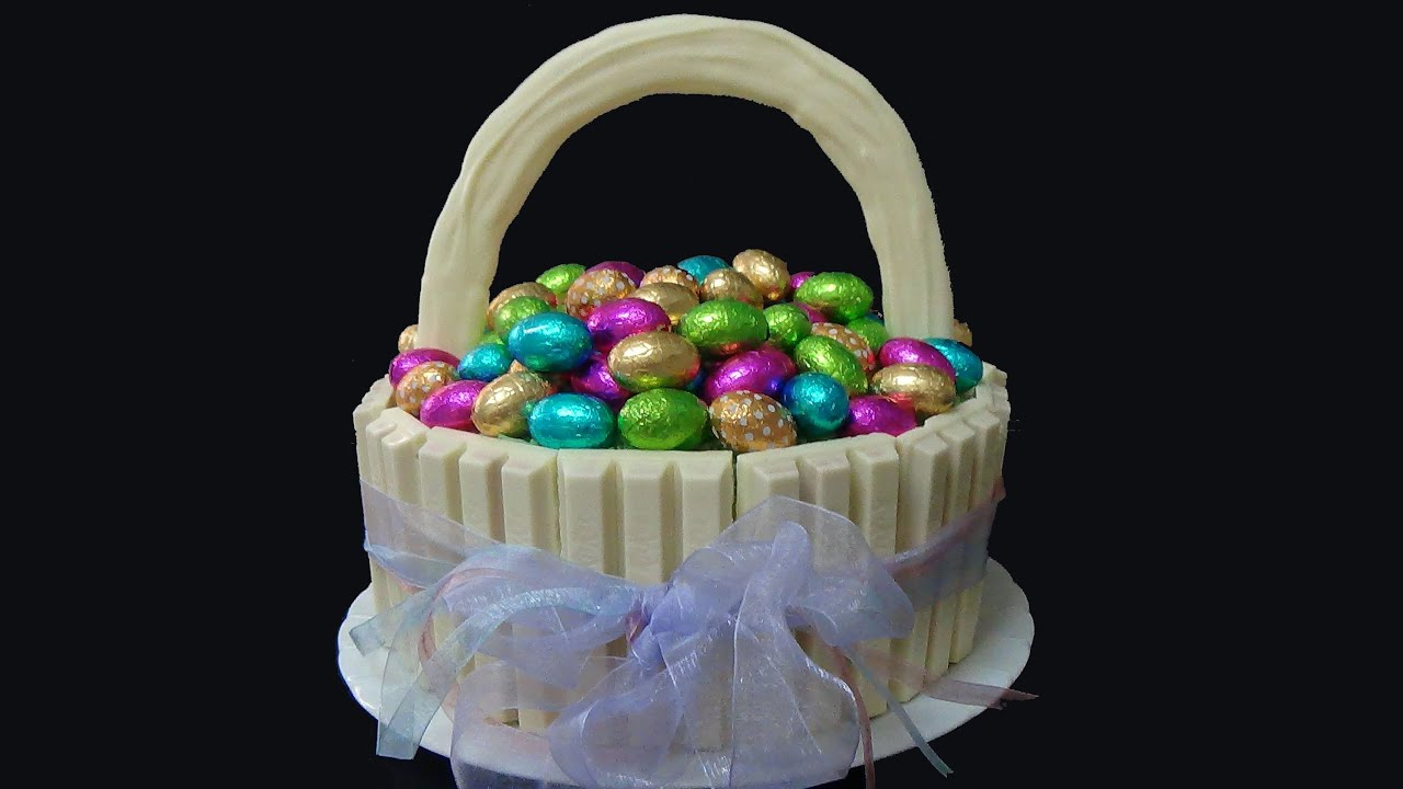 Easter basket cake with chocolate eggs youtube negle Choice Image