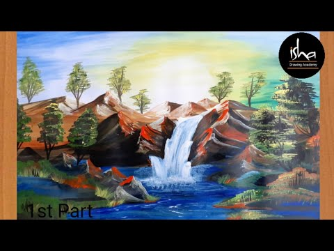Beautiful  Landscape paintings | watercolor waterfall | how to draw scenery  | dam painting.
