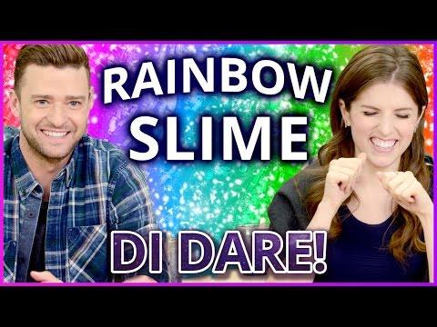 DIY NEON RAINBOW SLIME?! Di Dare w/ Justin...