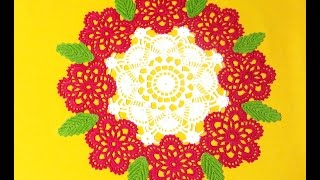Салфетка крючком Розы 3_Doily crochet Roses