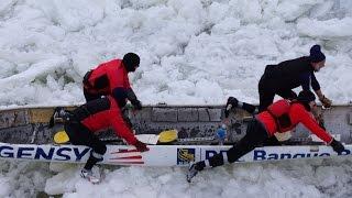 ICE CANOE RACE at Quebec City Carnival (le Grand Défi des Glaces)