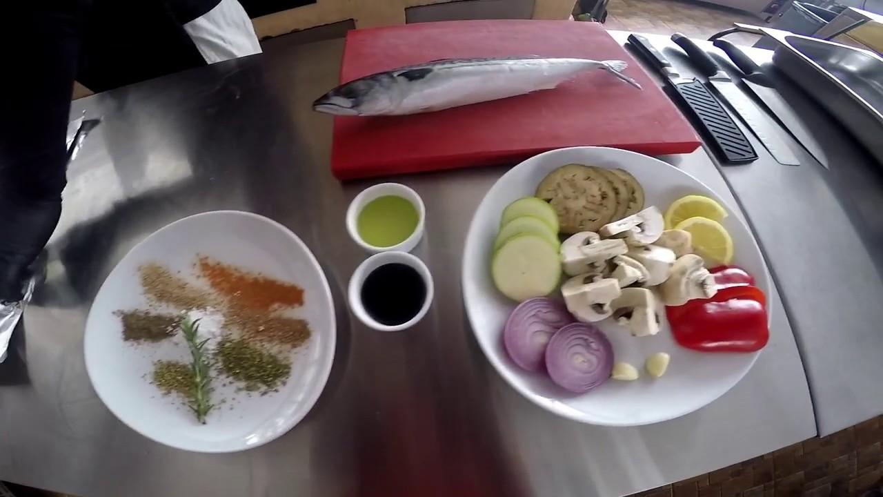 Скумбрия с овощами на гриле / Mackerel with grilled vegetables