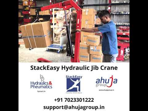 Need to lift loads that are not palletized? Handle with Ease with StackEasy Hydraulic Jib / Shop Crane - 250-1000 Kgs. Email: support@ahujagroup.in | Call: +91 7023301222  Website: https://ahujagroup.in/hpmart/stackeasy-material-handling/hydraulic/shop-crane-250-1000-kg.html