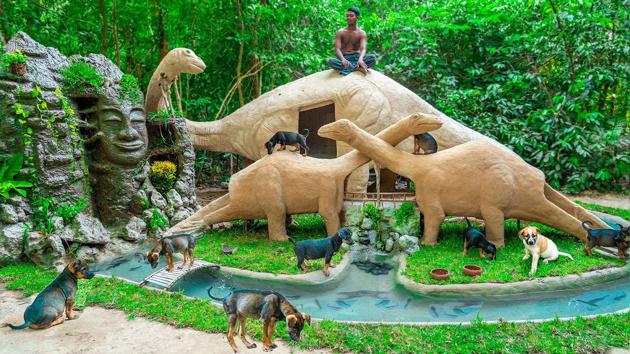 HANDMADE Building Dinosaur Mud House Dog And Waterfall in Jurassic Park For Rescued Puppy