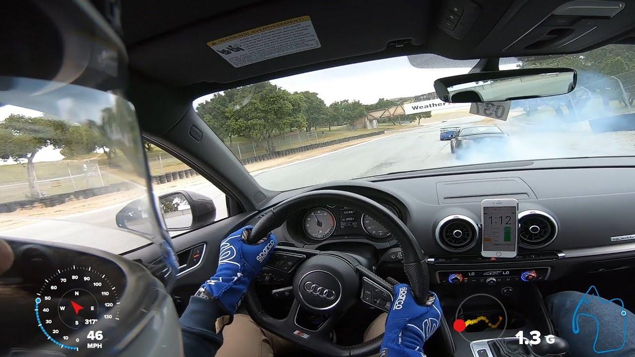 Laguna Seca Audi S3 Cooking the brakes