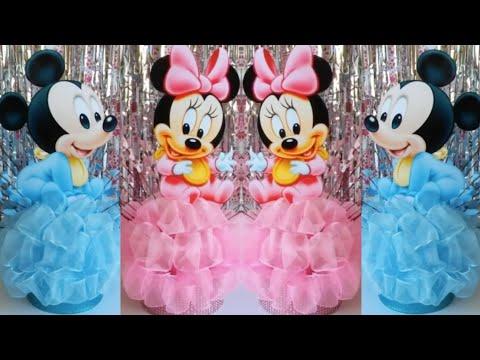 Centro de Mesa de Bebe Mickey y Bebe Minnie Mouse / DIY Baby Mickey & Minnie Mouse Centerpieces