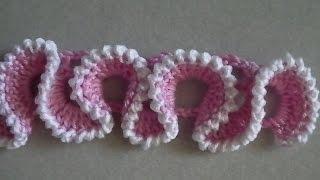 Вязание крючком: рюш на сетке