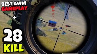 BEST AWM GAMEPLAY!!! | 28 KILLS SOLO VS SQUAD | PUBG MOBILE!