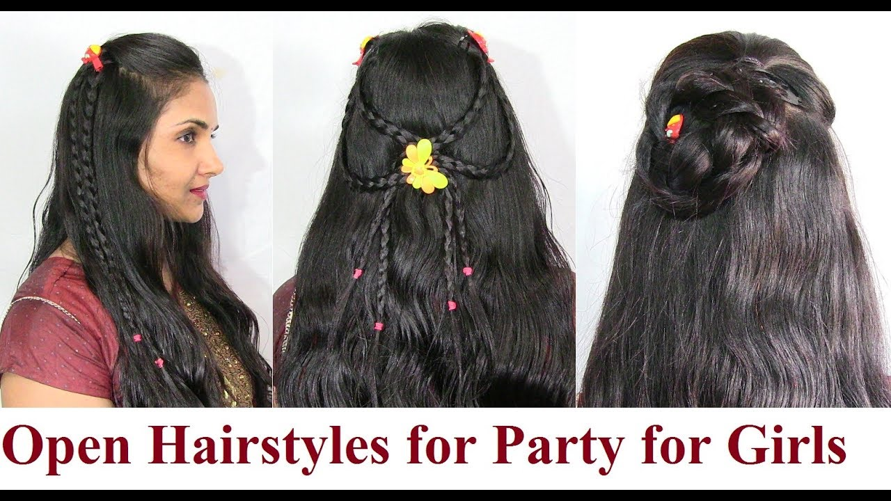 open hairstyles for party for girls - short medium long hair styles