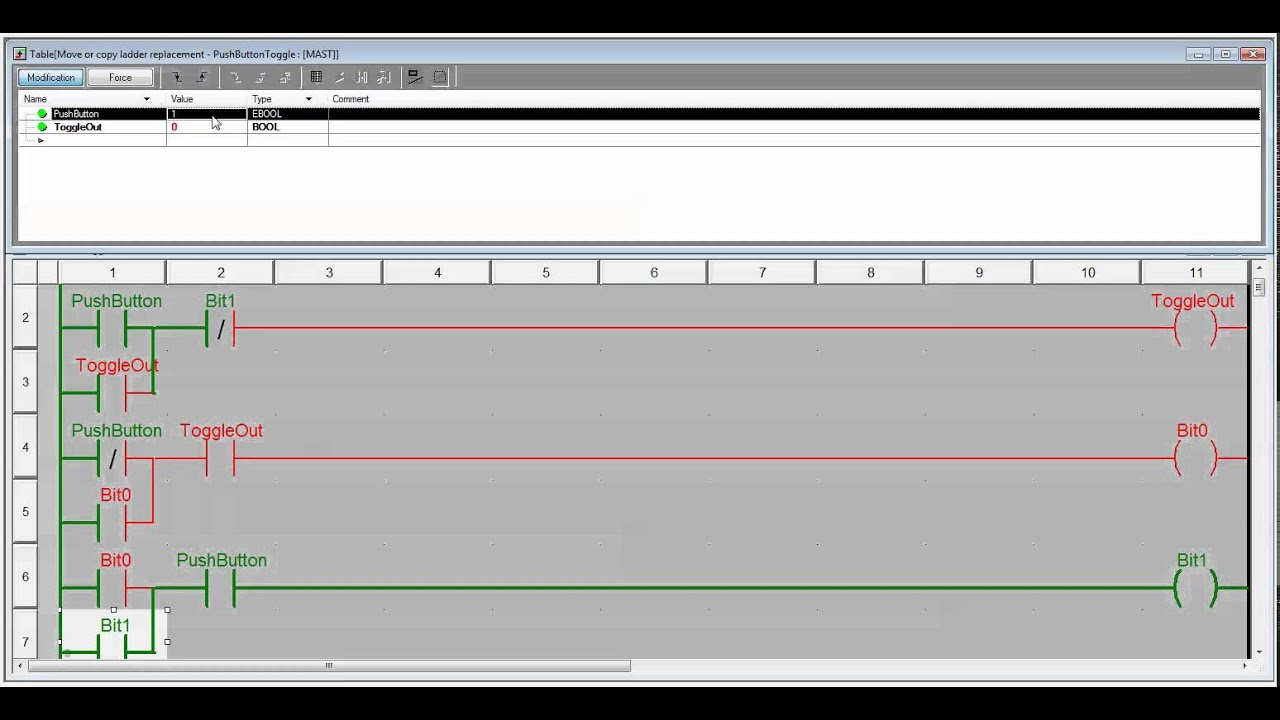 Ladder Logic Example With Toggle Or Flipflop Function T Flip Flop Plcsnet Interactive Q A Unity Pro One Shot