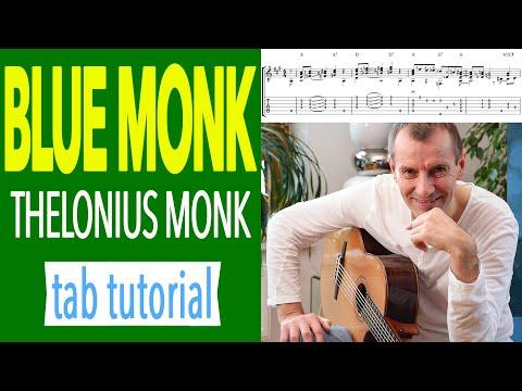 BLUE MONK Guitar TAB Fingerstyle Solo Sheet #1 [SLOW MOTION]