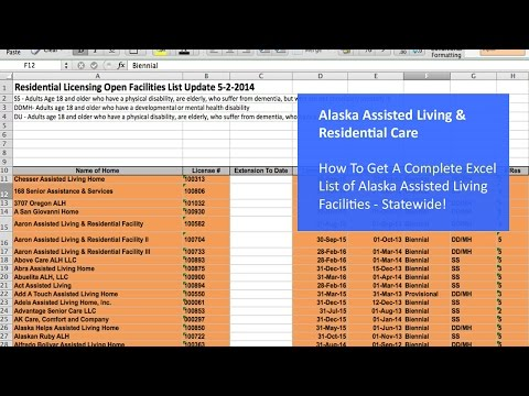 How To Get A Complete Excel List of Alaska Assisted Living Facilities