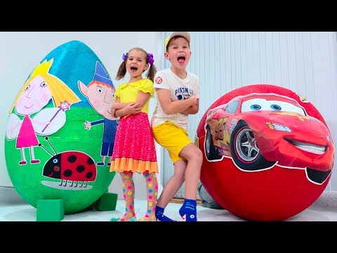 Giant toy egg McQueen VS Ben and Holly's Little Kingdom
