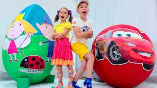McQueen VS Ben and Holly's Little Kingdom Яйцо с игрушками / Giant toy egg