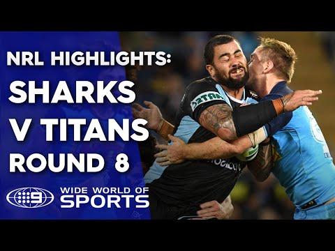 NRL Highlights: Gold Coast Titans v Cronulla Sharks – Round 8