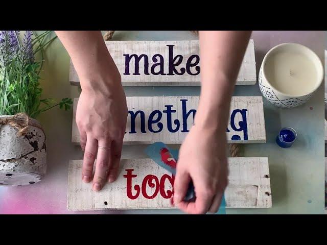 Make Something Today - Rustic Whitewashed Reclaimed Wood Ladder Sign DIY Craft Kit