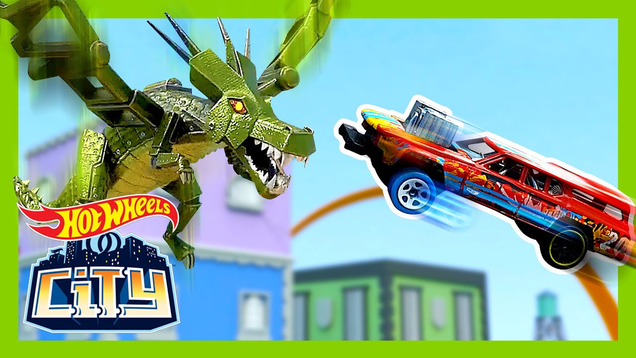 ROBO-DRAGON DEMOLISHED HOT WHEELS CITY?! | Hot Wheels City | @Hot Wheels