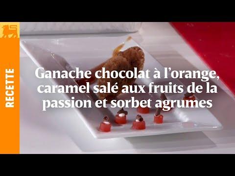 ganache-chocolat-à-l'orange,-caramel-salé-aux-fruits-de-la-passion-et-sorbet-agrumes