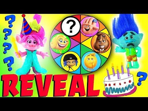Emoji Movie & Trolls Spin The Wheel Mystery Game Reveal Episode! Poppy Birthday Party for Branch!