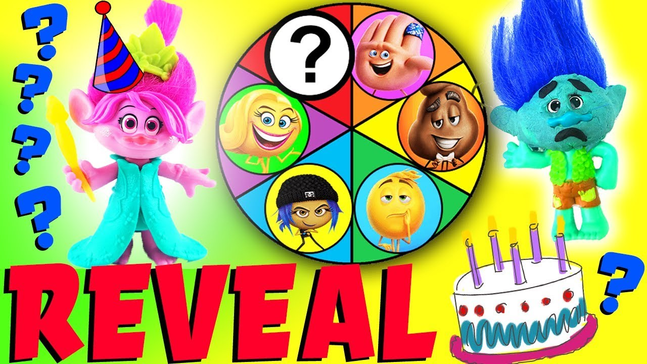 Emoji Movie Trolls Spin The Wheel Mystery Game Reveal Episode Poppy Birthday Party For Branch