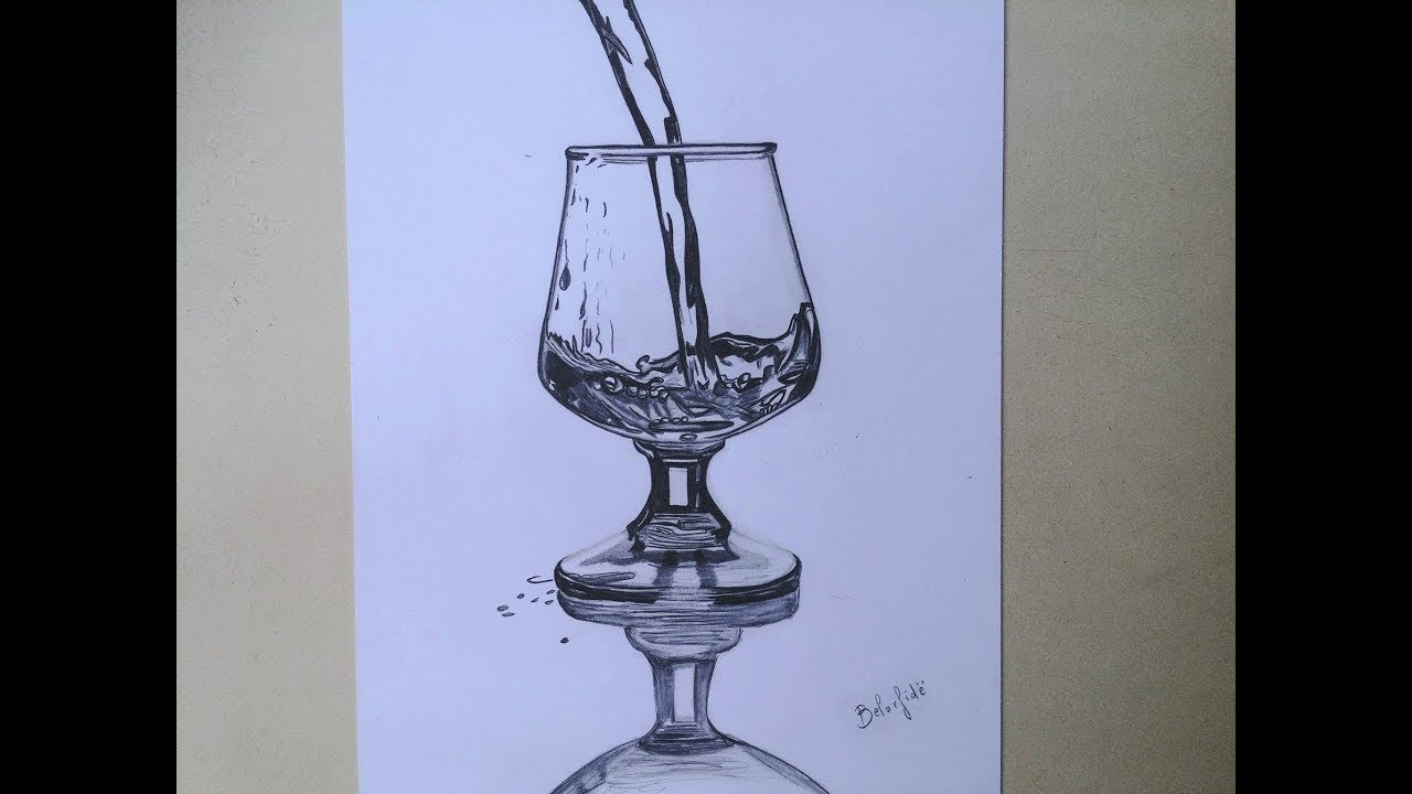 How To Draw A Wine Glass With Water Pouring Into It