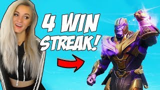 4 WIN STREAK WITH THANOS! FORTNITE INFINITY GAUNTLET MODE HIGHLIGHTS
