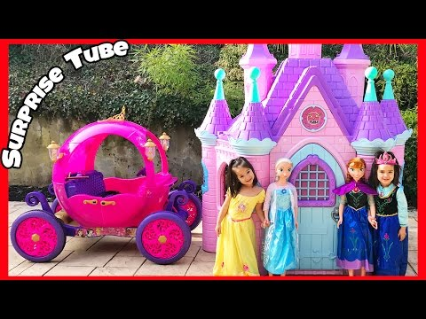 Disney Princess Carriage Ride on Powerwheels 24v Dynacraft with Cinderella and Rapunzel toys Suprise
