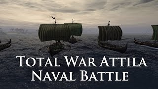 Total War: Attila Gameplay - Naval Battle - The Saxons v The Franks!