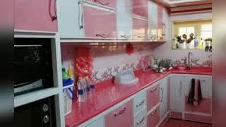 اكسسوارات المطبخ باللون الوردي