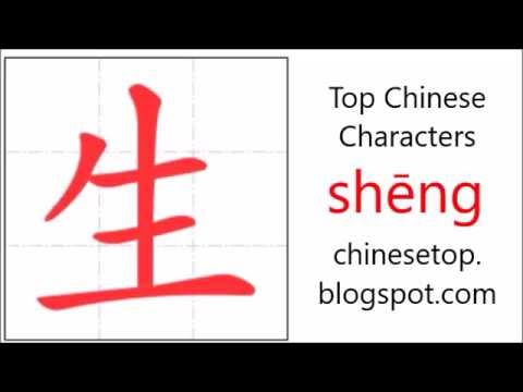 Chinese Character Shng Life With Stroke Order And