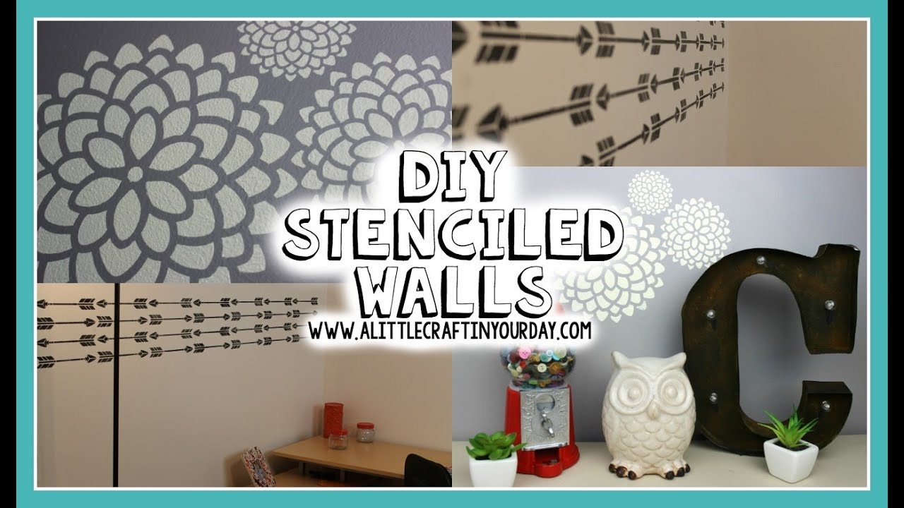 Diy stenciled wall easy diy teen room decor youtube for Teen wall decor