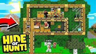 we made a SECRET Minecraft TREE HOUSE base! - Hide Or Hunt #1