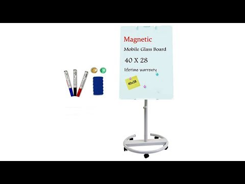 Glass Whiteboard | Magnetic Glass Dry Erase Board 40x28 Inches Mobile Glass Board