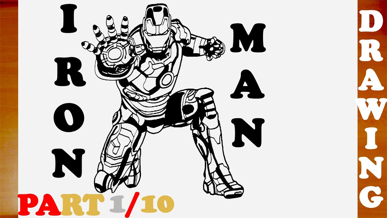 how to draw iron man full body step by step easy for kids from avengers superheroes part 110 youtube