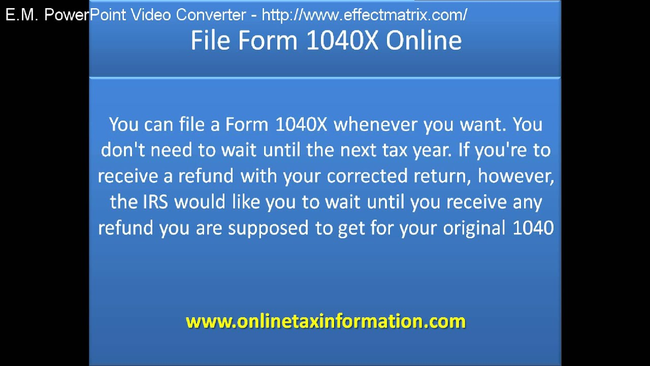 File form 1040x online youtube falaconquin