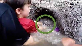 소년의 손을 물어버린 수중의 무언가. 양 손으로 꺼내자 어마어마한 것이 나왔다.