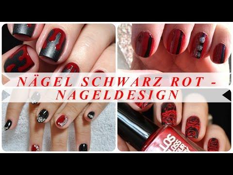 Nägel schwarz rot - nageldesign