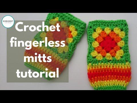 Crochet Granny Square Finger Less Gloves