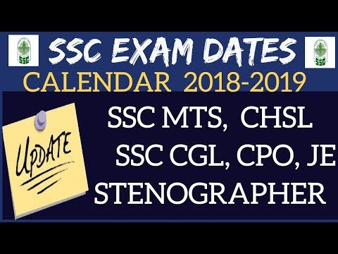 SSC EXAM DATES 2018-2019