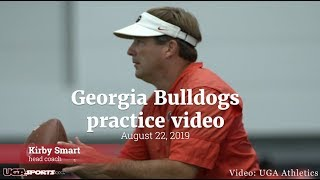 Georgia Bulldogs football practice featuring Kirby Smart, Jake Fromm, James Cook