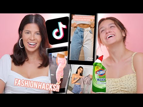 TRYING tiktok DIY fashion HACKS to UPCYCLE our old clothes