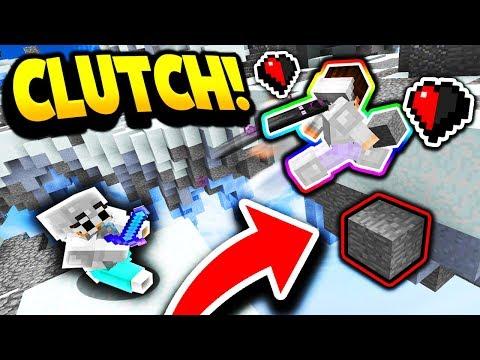 LUCKIEST HALF A HEART BLOCK CLUTCH! (Minecraft Skywars)
