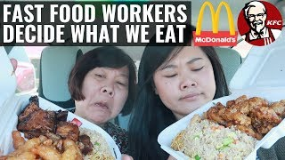 Letting a Fast Food Worker DECIDE What We Eat For 24 HOURS! ft. Mom